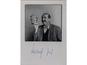 Podpisová karta s fotografií,  Jiři Holeček s maskou