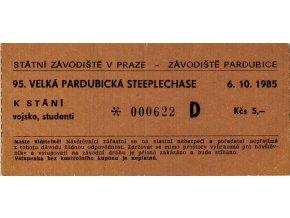 Vstupenka Velká pardubická steeplechase, 1985