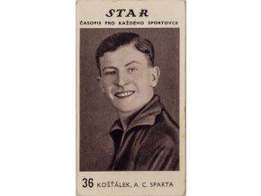 Kartička z časopisu STAR, 36, Košťálek, AC Sparta