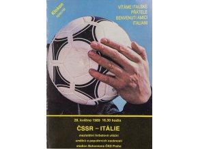 Program fotbal ČSSR vs. Itálie, 1989