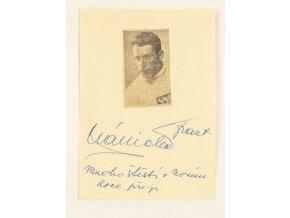 Podpisová karta autogram výstřižek František Plánička