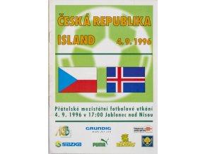 Program fotbal, ČR v. Island, 1996