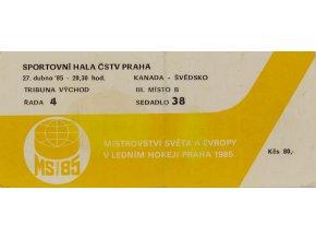 Vstupenka, MS hokej Praha, Kanada v. Švédsko, 1985 (1)