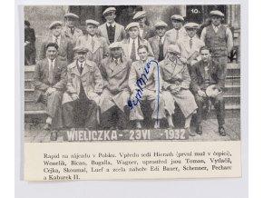 Rapid na zájezdu v Polsku, podpis J.Bican, 1932 (1)