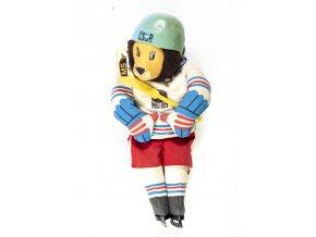 Maskot MS hokej Praha 1985 s přilbou (1)