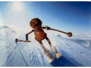 Pohlednice humor, Dubánci, lyžař