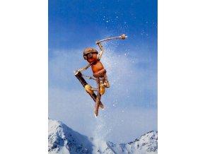 Pohlednice humor, Dubánci, lyžař akrobat