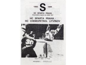 Program hokej, HC Sparta Praha vs. HC Litvínov 1994