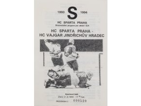 Program hokej, HC Sparta Praha vs. HC Jindřichův Hradec, 1993