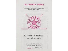Program hokej, HC Sparta Praha vs. HC Vítkovice, 1994