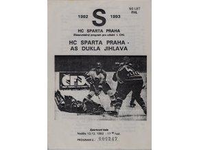 Program hokej, HC Sparta Praha vs. AS Dukla Jihlava, 1992