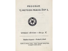 Program TJ Meteor Praha v. TJ Slavoj Vyšehrad, 1980