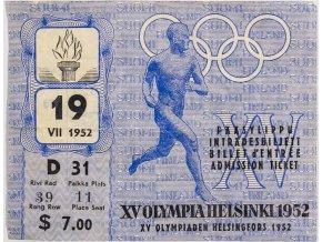 Vstupenka OH Helsinki, zahajovací ceremoniál, 1952 (1)