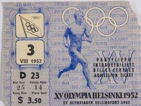 Vstupenka OH Helsinki, závěrečný ceremoniál, 1952 (1)