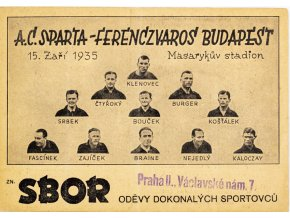 Korespondenční lístek Sparta Ferencvaros, 1935 II (1)
