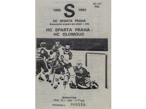 Program hokej, HC Sparta Praha vs. HC Olomouc, 1993
