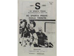 Program hokej, HC Sparta Praha vs. Dukla Trenčín, 1993