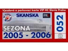 Parkovací karta VIP, HC Slavia Praha, sezona 20052006 (1)