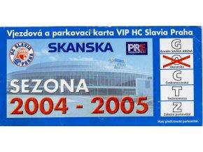 Parkovací karta VIP, HC Slavia Praha, sezona 20042005
