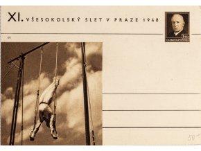 Korespondenční lístek XI.Všesokolský slet v Praze, 1948 kruhy
