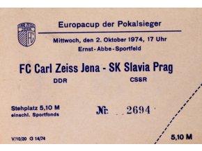 Vstupenka fotbal Carl Zeiss Jena SK Slavia Prag
