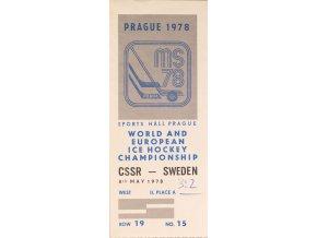 Vstupenka hokej Praha 1978 CSSR SWEDEN 8. května 1978