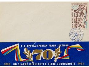 Příležitostní obálka AC Sparta, Spartak Praha Sokolovo, 1893 1963