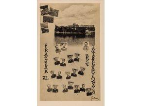 Pohlednice, koláž, Pražská XL. býv. internacionálů, podpisy, 1944 (2)
