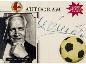 Podpisová karta autogram výstřižek, koláž, František Plánička