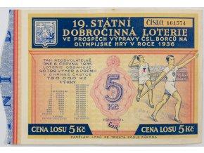 Los 19. státní dobročinná loterie ve prospěch výpravy na OH 1936 (2)