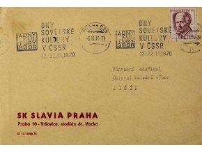 FDC , Dny sovětské kultury, SK SLAVIA PRAHA, 1970