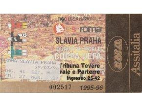 Vstupenka fotbal AS Roma vs. SK Slavia PRAHA, 1996 II