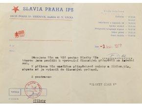 Obálka s potvrzením o zaplacení příspěvků, SK Slavia Praha, 1977 (1)