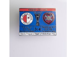 Odznak UEFA 92 93 FC Heart of Midlothian vs. Slavia blue