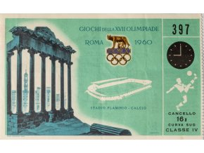 Vstupenka Olympic, Roma, fotbal, 1960 (1)
