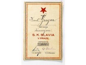 Členská legitimace P.T. klubu S.K.SLAVIA PRAHA z roku 1925 (1)