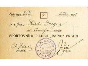 Členská legitimace Sportovního klubu Rapid, 1925 (1)