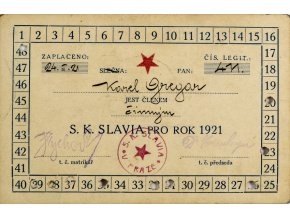 Členská legitimace SK SLAVIA PRAHA pro rok 1921 (1)