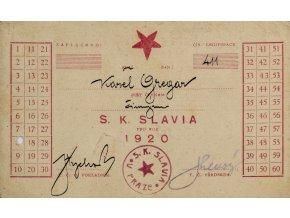 Členská legitimace SK SLAVIA PRAHA pro rok 1920 (1)