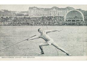 Pohlednice, Marathonské zápasy, vrh oštěpem, Letná, 1912 (1)