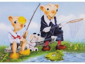 Pohlednice humor, Spejbl s Hurvínkem na rybách (1)