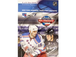 Official Program NHL Prague Premiere, NY Rangers v. TB Lightning, 2008