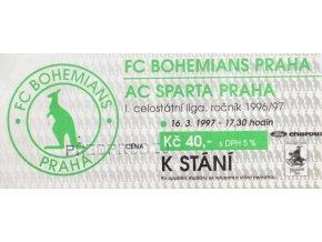 Vstupenka fotbal , FC Bohemians Praha v. Sparta Praha , 9697