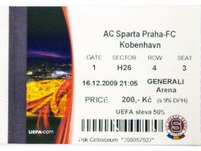 Vstupenka UEFA , Sparta Praha v. FC Kobenhavn, 2009 II