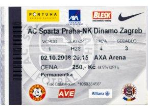 Vstupenka UEFA , Sparta Praha v.NK Dinamo Zagreb, 2008