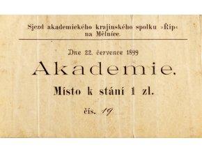 Vstupenka, Sjez ak. krajinského spolku Říp, 1899