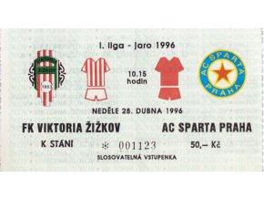 Vstupenka UEFA , FK Viktoria Žižkov v. Sparta Praha, 1996