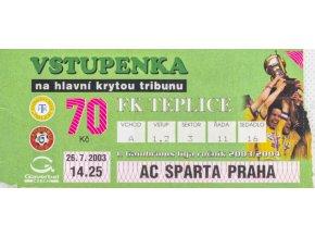 Vstupenka fotbal, FK Teplice v. AC Sparta Praha, 2003