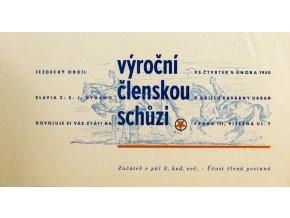 Pozvánka na výroční čl. svhůzi, SK Slavia Praha Dynamo, jezdecký oddíl, 1950