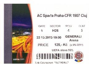 Vstupenka UEFA , Sparta Praha v. CFR 1907 Cluj, 2009 II